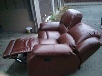 Lovely brown leather reclining sofa. FREE DELIVERY