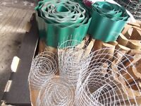 gardening box of miscellaneous bits - edging - wood and plastic, canes, netting etc