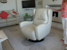 Chairs cream Leather swivel armchairs
