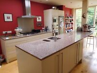 Large Rosa Porrino granite worktop for kitchen