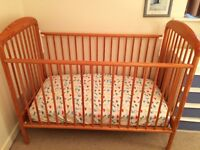 Mothercare cot with clean mattress plus some bedding