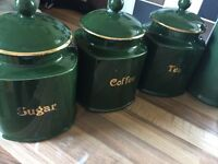 Beautiful green storage jars plus other green accessories