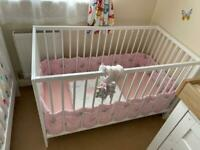 Cot, mattress and bedding