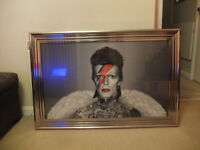 Large David Bowie Wings and Tatoos Framed Liquid Artwork and Swarovski Crystals