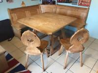 Bavarian table with corner benches and 2 x chairs
