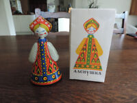 Vintage Russian metal wind-up Toy doll with original Key & box