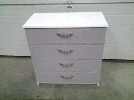New (1 very small nick) White / Grey GLOSS Chest drawers. Can deliver.