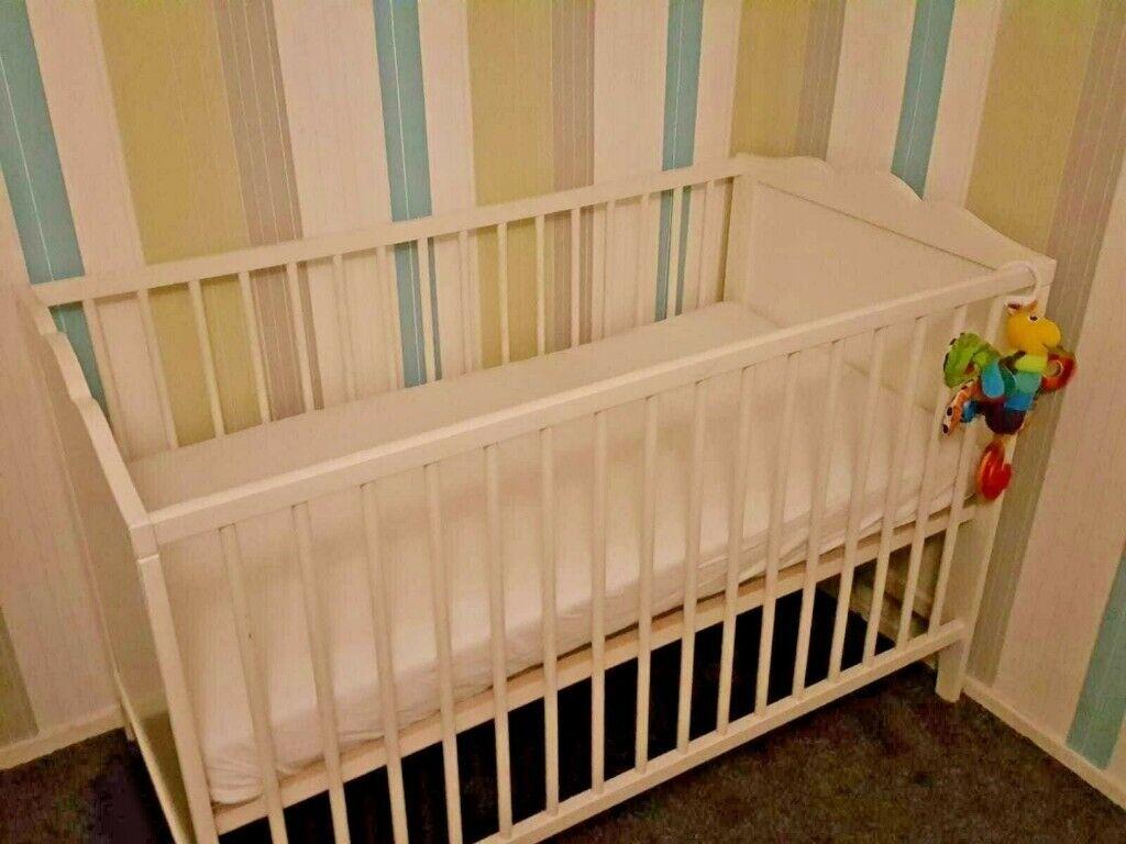 IKEA Hensvik White Wooden Baby Cot Bed Adjustable Height ...