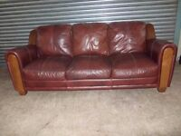 Large Mahogany Brown Leather 3-seater Sofa