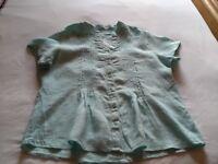 Marks & Spencer Aqua or perhaps Mint Green Linen blouse size 16