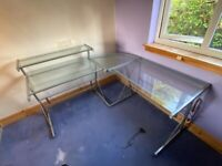 Glass and metal corner desk 3 piece
