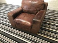 Gorgeous sofitalia suede leather chocolate brown arm chair