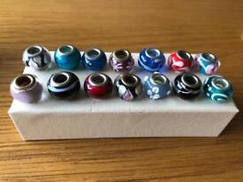 14 glass bead charms (fits on Pandora bracelet etc)