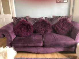 Large purple two seater Dfs sofa immaculate and scotch guarded