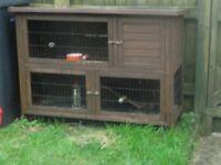 2 storey rabbit hutch .bottom run ,top has run and closed bed area,