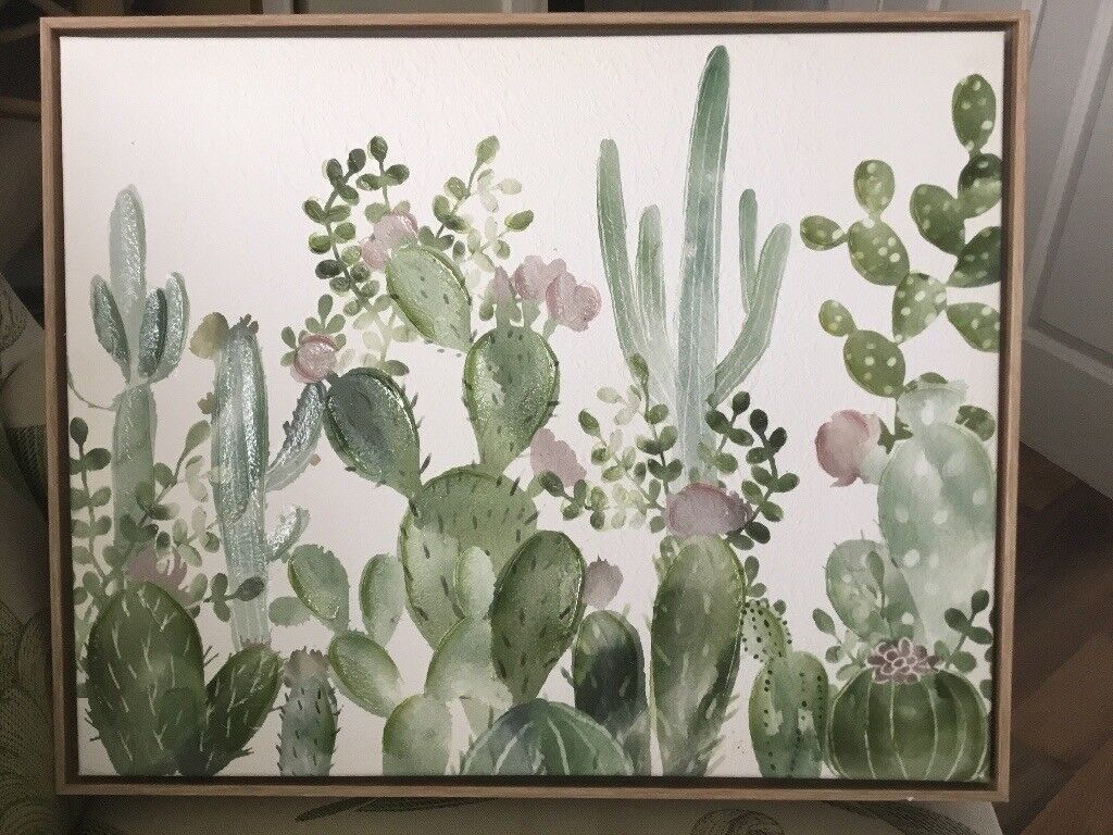 Gorgeous cactus picture in wooden surround