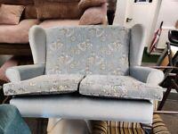 Small 2 seat blue fabric sofa settee retro old