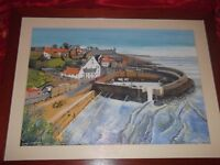 Crail Harbour by A.C. Beveridge 2000 Original artwork large (4 ft x 3 ft) framed.
