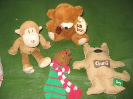 Brand New Teddy Bear, Monkey and Doggie Soft Toys with Deer Mini-Stocking for £5.00 - BAG SEVEN
