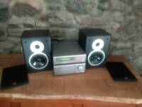 Denon Amplifier Hi-fi with tuner and TDL Nucleus 2 speakers with silver cables