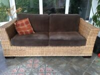Wicker furniture - Brown cord 3 seater and single chair. Ideal for conservatory or sunroom