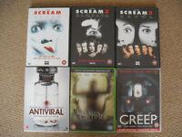Horror DVD 's - Scream 1-3, AntiViral, Creep, The Human Centipede