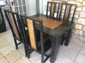 Rosewood and Bamboo Dining table and chairs