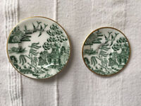 Coaplort miniature bone china green Willow pattern matching plate (£4) & saucer (£3) or £6 ovno both