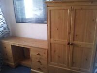 Pine Dressing Table and matching 2 Door 1 Draw Wardrobe