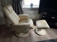 cream leather recliner and foot stool