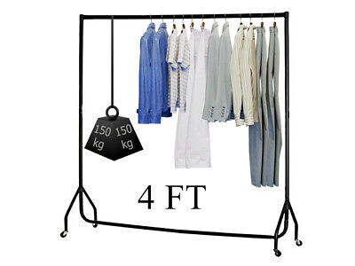 4ft Heavy Duty Clothes Rail Garment Hanging Rack Display Rolling Dryer Stand