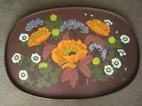 Vintage Large M&S Floral Melamine and Wooden Tray