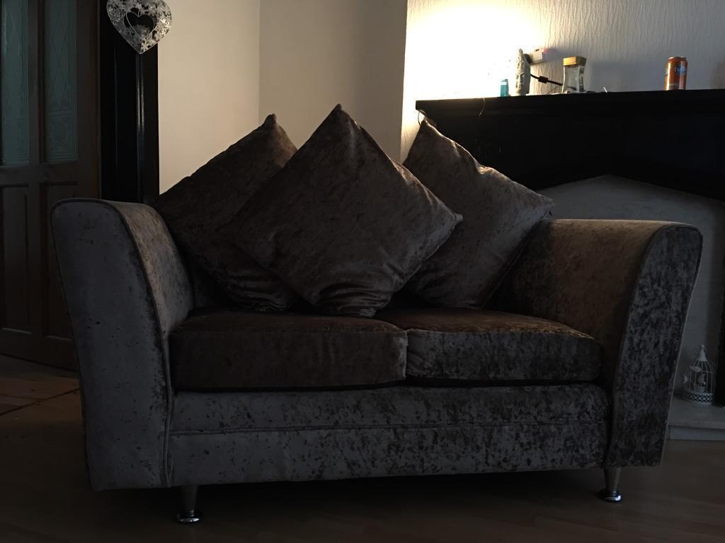 Mink crushed velvet sofa