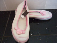 Next - Size 4 - White and Pink Button Flat Shoes - BRAND NEW