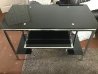 Glass Computer Desk - black glass in VG condition.