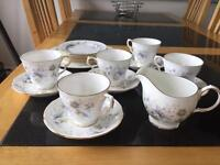 Blue flower bone china tea set excellent condition