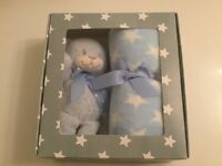Baby boy blanket and soft toy gift set (new)