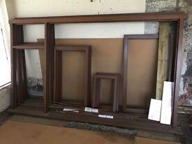 3 x new hardwood mahogany window frames no glass. Will sell separately