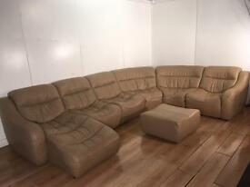 Beautiful real leather MODULAR corner sofa and puff with free delivery within 10 miles