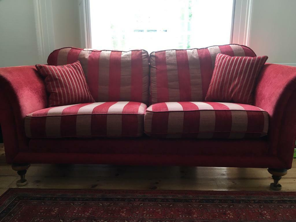Red Striped Sofa Interior Decoration With Cream Paint Wall