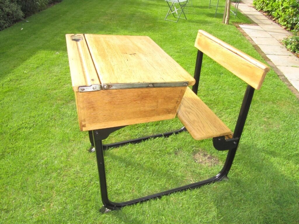 Well restored 1940\'s Kingfisher Sleigh school desk with folding seat ...