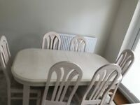 Extending Dining Table & 6 Chairs: White / Cream