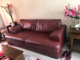3 seater sofa and large poufee in burgundy