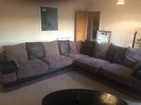 L shape corner Brown faux leather/suede sofa
