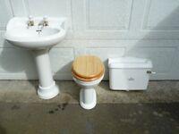 Vernon Tutbury / BC Sanitan Pedestal Sink Basin & WC Toilet, White, Bathroom / Toilet Suite