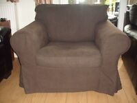 Ikea Ektorp armchair and settee, 2 sets of covers, plain brown and plain beige/cream.