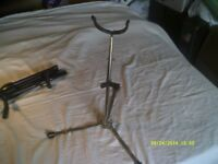 SAXOPHONE STANDS for ALTO or TENOR SAX . They FOLD UP FOR GIGS , WELL MADE In V.G.C.