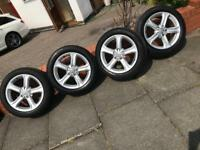 """Audi 17"""" alloys and wheels with caps a3 A4 a5 a6"""