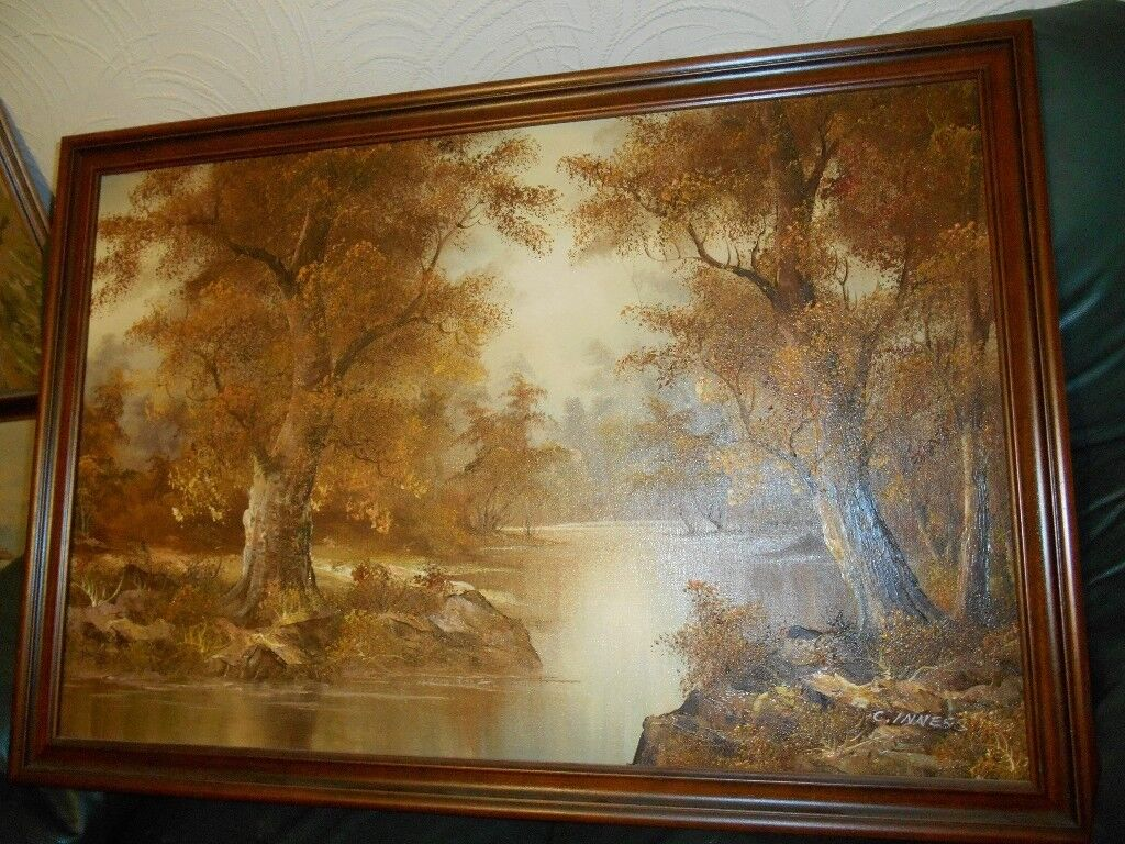 Large Oil Paint Landscape Signed C Inness In Colliers