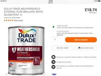 DULUX EXTERIOR 8 YEAR WEATHER-SHIELD WHITE PAINT BRAND NEW 3 X 1LT TINS